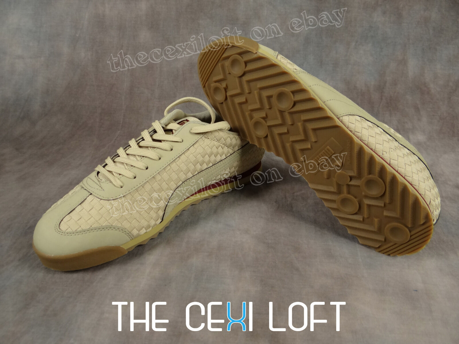 Mens PUMA Casual Shoes Sneakers ROMA WEAVE Texture in Pale Khaki