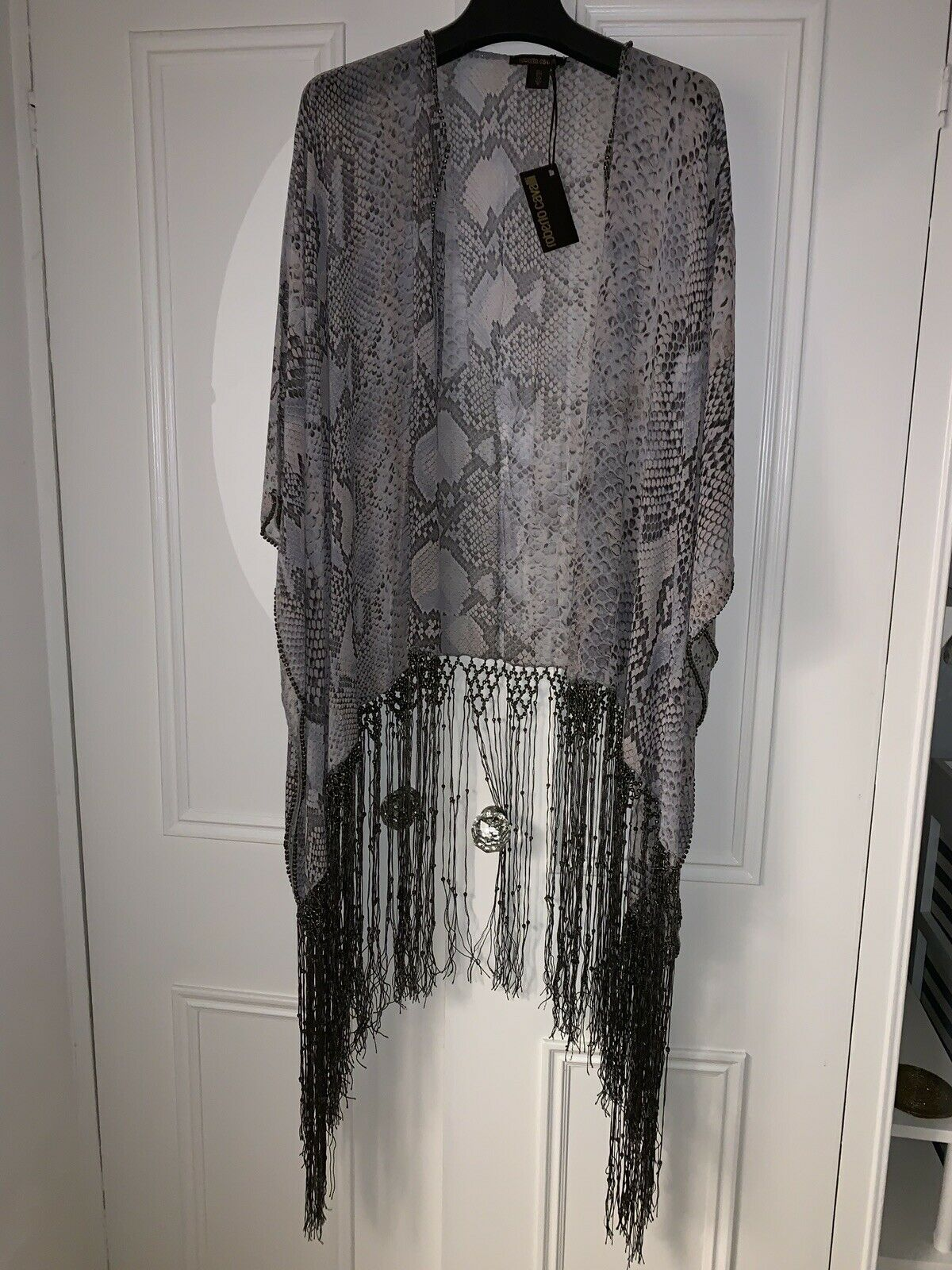 BNWT ROBERTO CAVALLI PURE SILK KAFTAN SHAWL DRESS SNAKE PRINT BEADED FRINGED