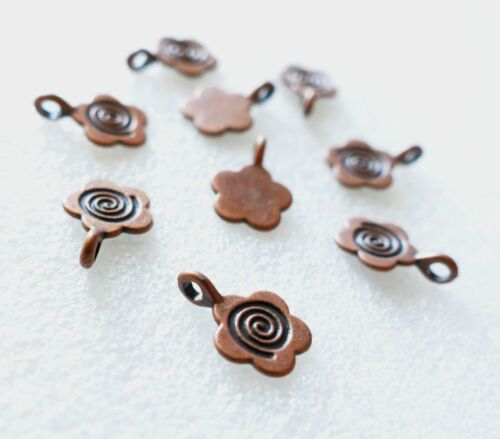 10x Flower Charm Copper Glue on Necklace Bail for Pendants Fused Glass Supplies