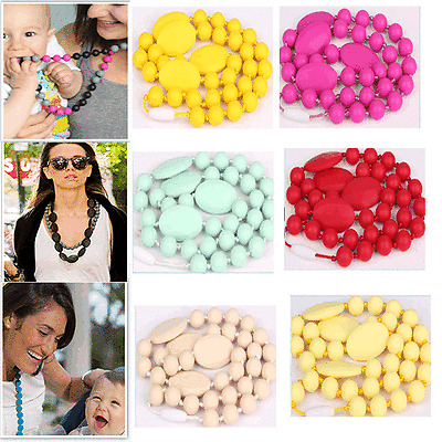 Baby Silicone Teething Nursing Necklace chew Teether jewelry Beads BPA-Free Toys