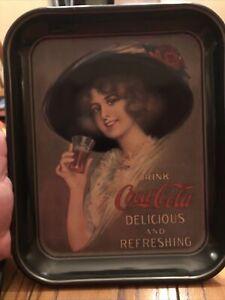 Vintage-Coca-Cola-Tray-1912-Hamilton-King-Girl-Repro-13-1-4-in-X-10-1-2-in