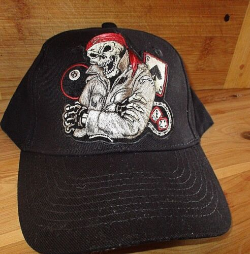 Skull dealer cap biker motorcycle sports mens shed Quality Embroidered Design