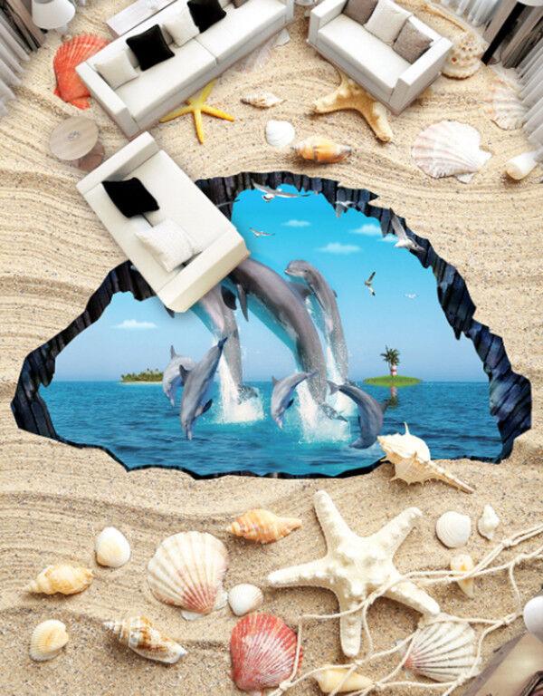 3D Dolphin Beach 8 Floor WallPaper Murals Wall Print Decal AJ WALLPAPER US Carly