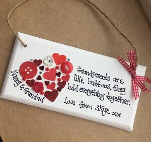 Personalised Handmade Wooden Plaque - Grandparents Christmas Gift ...