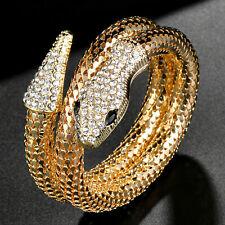 Shimmering Gold SNAKE Charming COIL Rhinestone Retro Vintage Wraparound BRACELET