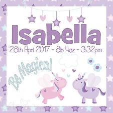 Personalised Baby Girl Photo Unicorn Canvas Print, Birth/Christening Gift