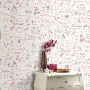 Details zu Tapete Rasch - Blumenmuster Vintage Shabby Chic Mädchen Zitate -  Pink/Lila