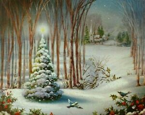 Norcross Snowy Forest Scene w/Sparkly Mica Glitter Used Christmas Card, 1964