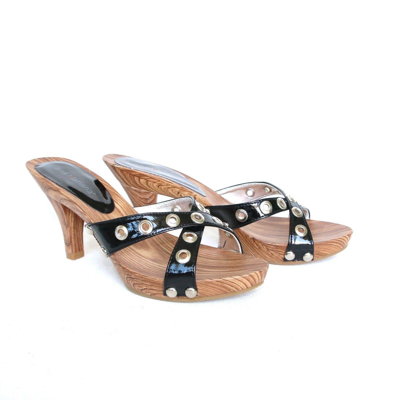 Moda jest prosta i niedroga Damen Riemchen Sandaletten 38 Schwarz Sandalen Pumps High Heels Holzoptik S .