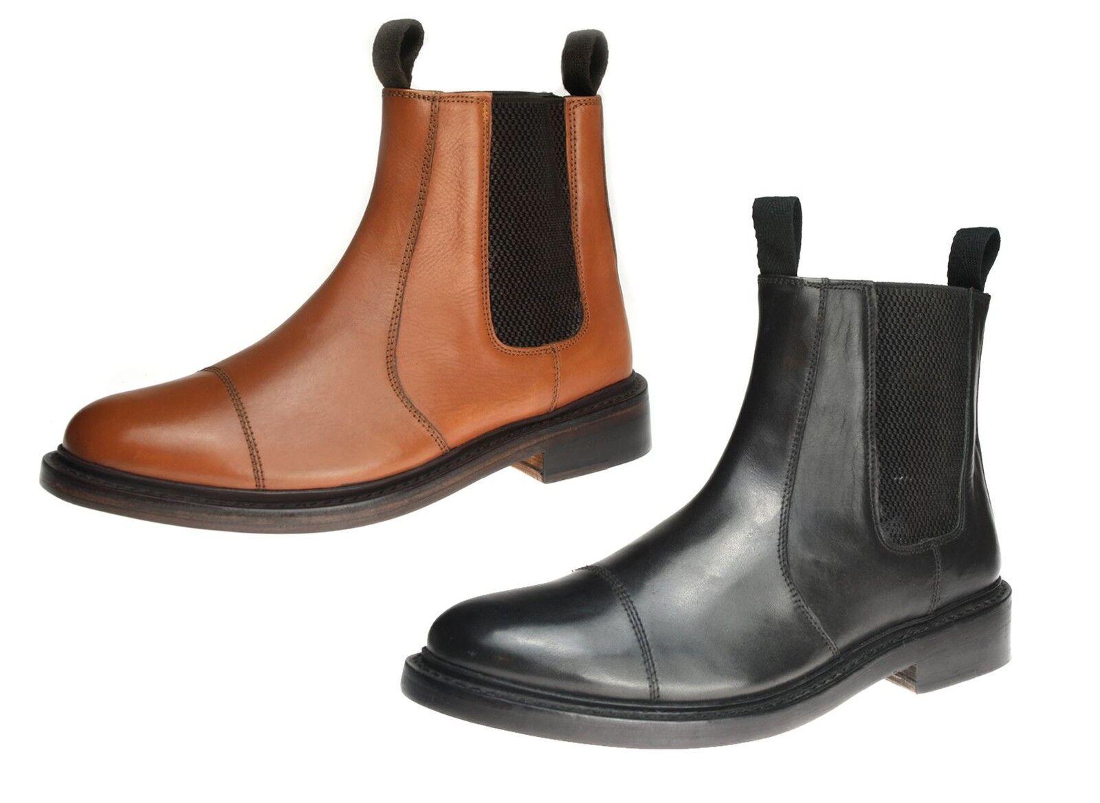 Benchgrade 1920 Para Hombre tan O Negro De Cuero Hechos A Mano ribeteadas Chelsea Distribuidor botas