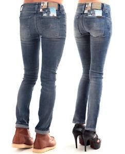Nudie-Unisex-Damen-amp-Herren-Skinny-Fit-Stretch-Jeans-Hose-Tube-Tom-Damp-Grey