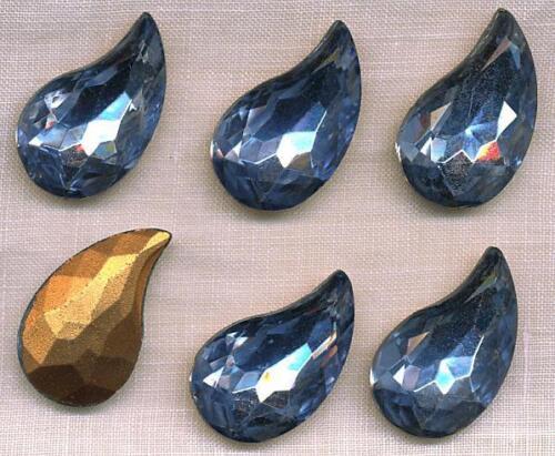 6 Vintage West German Light Blue Leaf Shaped Gold Foiled Glass Stones 15//25mm