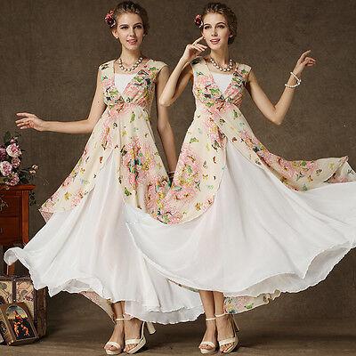 Fashion Chiffon Butterfly Floral Maxi Women glamorous Beach Party Dress FHJ238