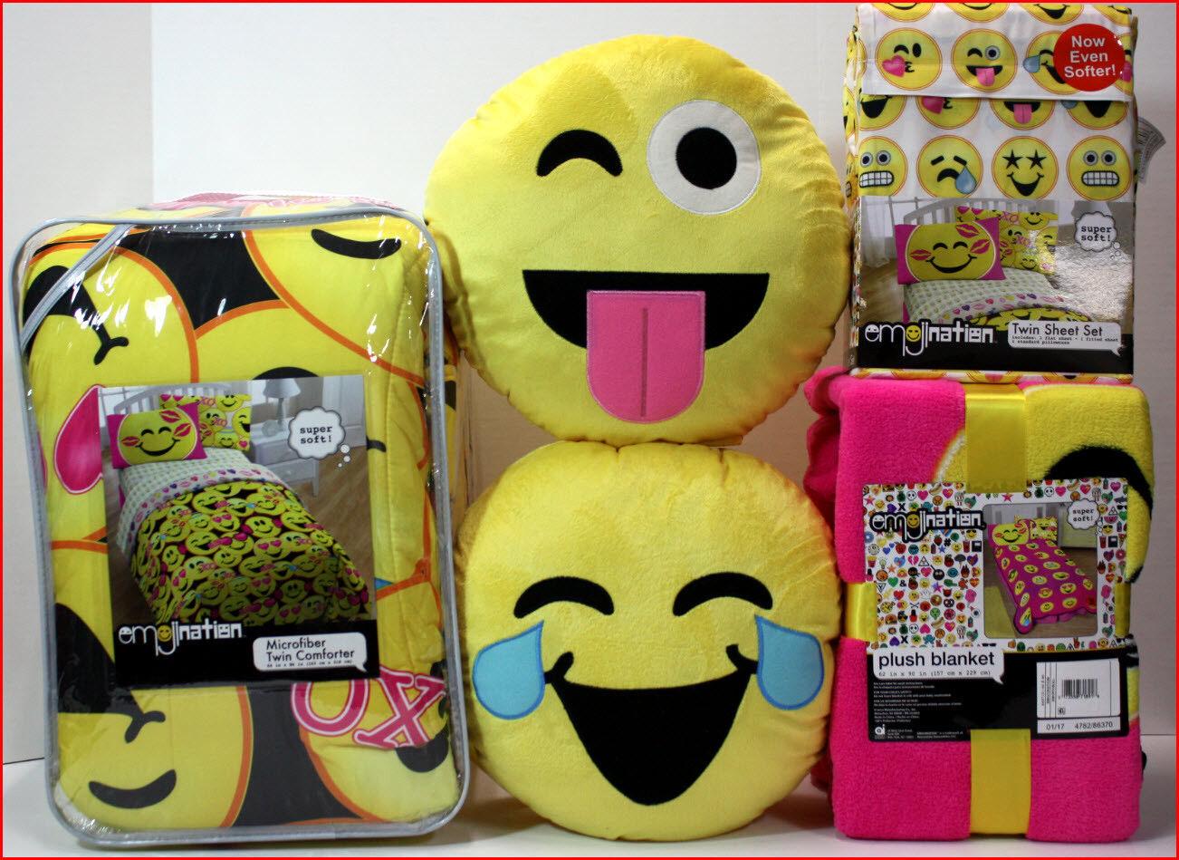 7 4 PC-Emoji Couette + Drap Set + couverture + 2 oreillers-LOL coeurs bisous