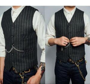 Mens-Casual-Wool-Tweed-Herringbone-Stripe-Waistcoat-Pocket-Vintage-Vest