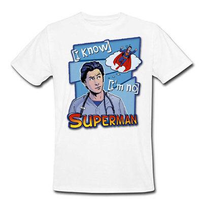 T-shirt donna I know I/'m no Superman Scrubs inspired John Dorian J.D.