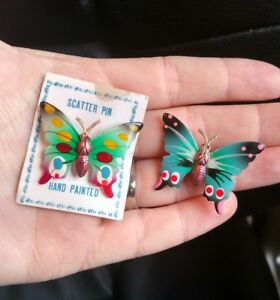 Details about 2 Vintage Hand Painted Enamel Gold Tone Butterfly Scatter Pin  Brooch - 1 3/4