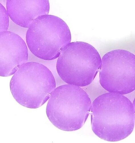 Heliotrope 10mm Violet 25 Frosted Sea Glass Round Rocaille Beads Matte
