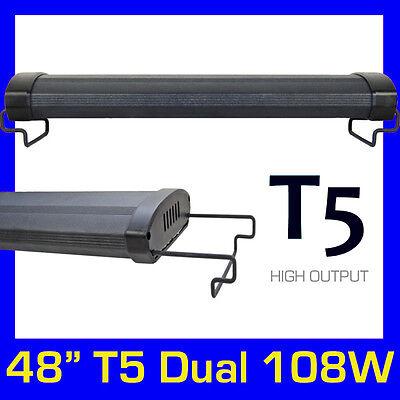 "T5 HO Aquarium Fish Tank Overhead Twin bulb / Lamp System 48"" 120cm - 140cm"