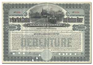 New York Central /& Hudson River Railroad $1000 Michigan Central bond certificate