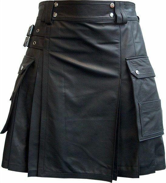 Men's Real Leather Pleated Kilt Clubwear Kilt With Cargo Pockets