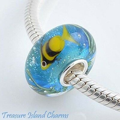 ANGELFISH FISH LAMPWORK MURANO GLASS .925 Sterling Silver EUROPEAN Bead Charm