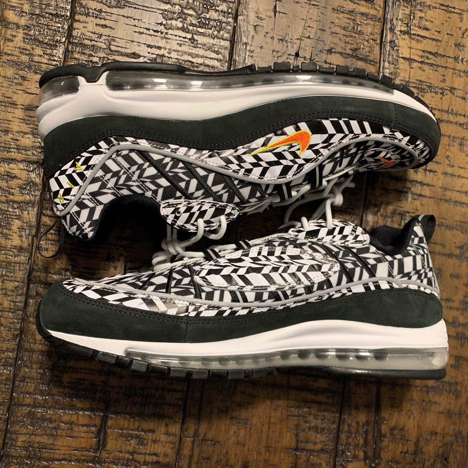 Nike Air Max 98 AOP White Team orange Black AQ4130 100 Men's Size 11.5 NO BOX LI