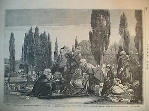 TURQUIE-CONSTANTINOPLE-CORNE-D-039-OR-OTTOMANES-FAMILLE-MUSULMANE-GRAVURE-1866