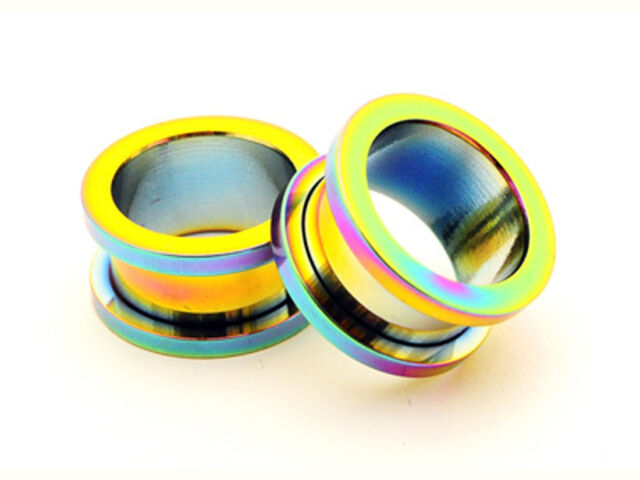 Pair of Rainbow Screw on Tunnels gauges plugs PICK SIZE