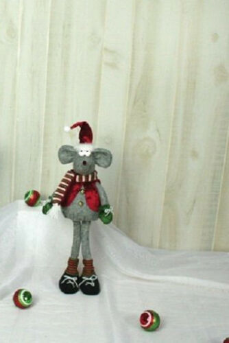 """25010 19/"""" Festive Mouse Stander Doll Country Christmas Decoration Scarf Mittens"""