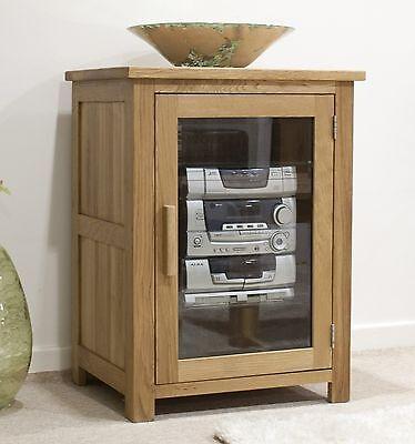 Eton solid oak living room furniture hi-fi storage cabinet cupboard unit