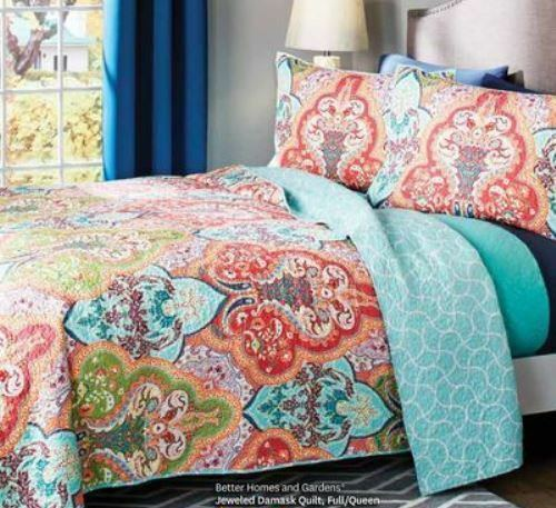 BETTER HOMES AND GARDENS Jeweled Damask 3 pc FULL QUEEN QUILT SET W  SHAMS VCNY