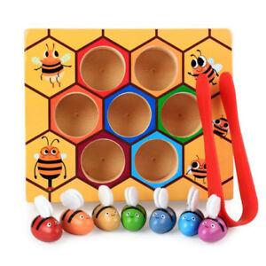 Kinder-Frueherziehung-Holz-Montessori-Bildung-Bienenstock-Spiel-Puzzle-Spielzeug