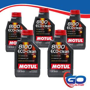 5 LT Motul 8100 Eco-Clean 0W30 Olio Motore 100% Sintetico ACEA C2 API SN