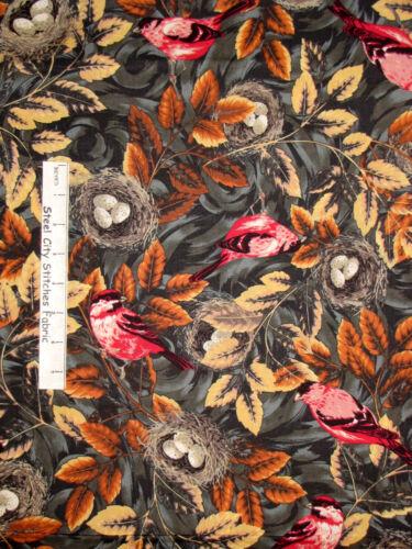 Yard Animal Bird Birds Nest Leaves Autumn Fall RJR #1959 Flutter Bird Fabric