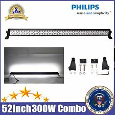 """52"""" inch 300W Philips LED Work Light Bar Flood Spot Offroad 4WD SUV UTE 50 54 us"""