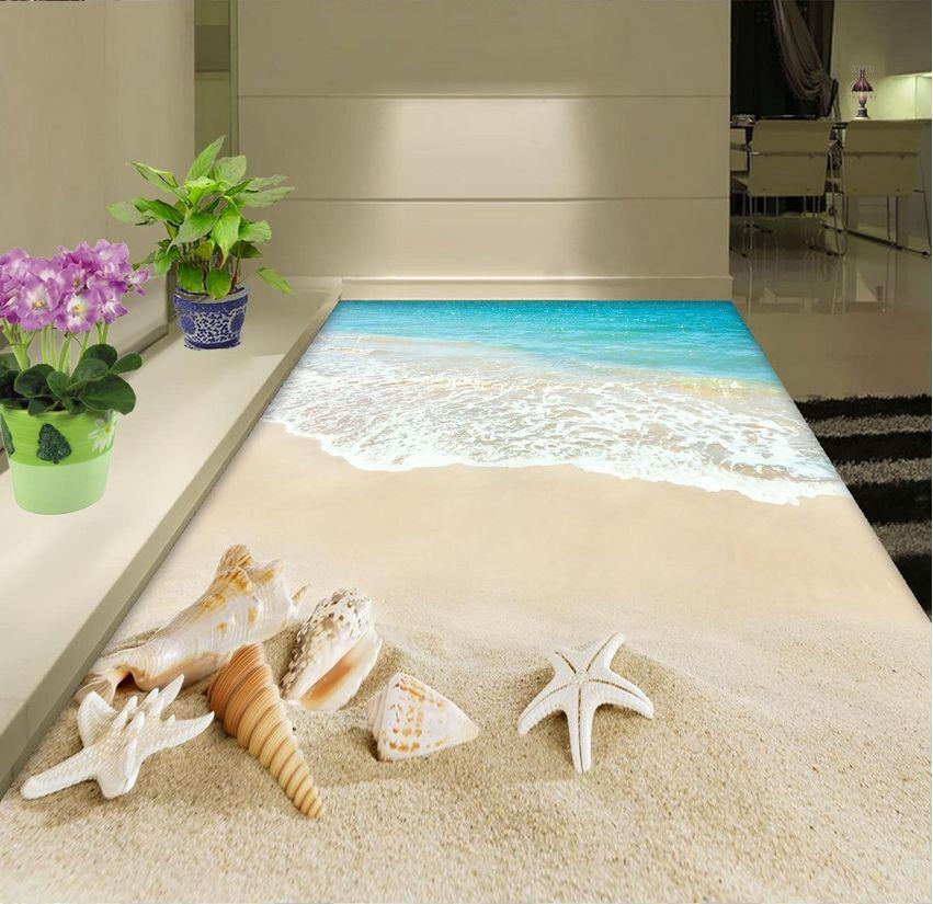 Agua De Concha De Playa 3D 474 Papel Pintado Mural Parojo Calcomanía de impresión de piso 5D AJ Wallpaper