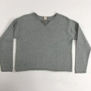 J-Jill-Womens-Grey-Long-Sleeve-Knit-Boxy-Pullover-Sweater-Size-XSP