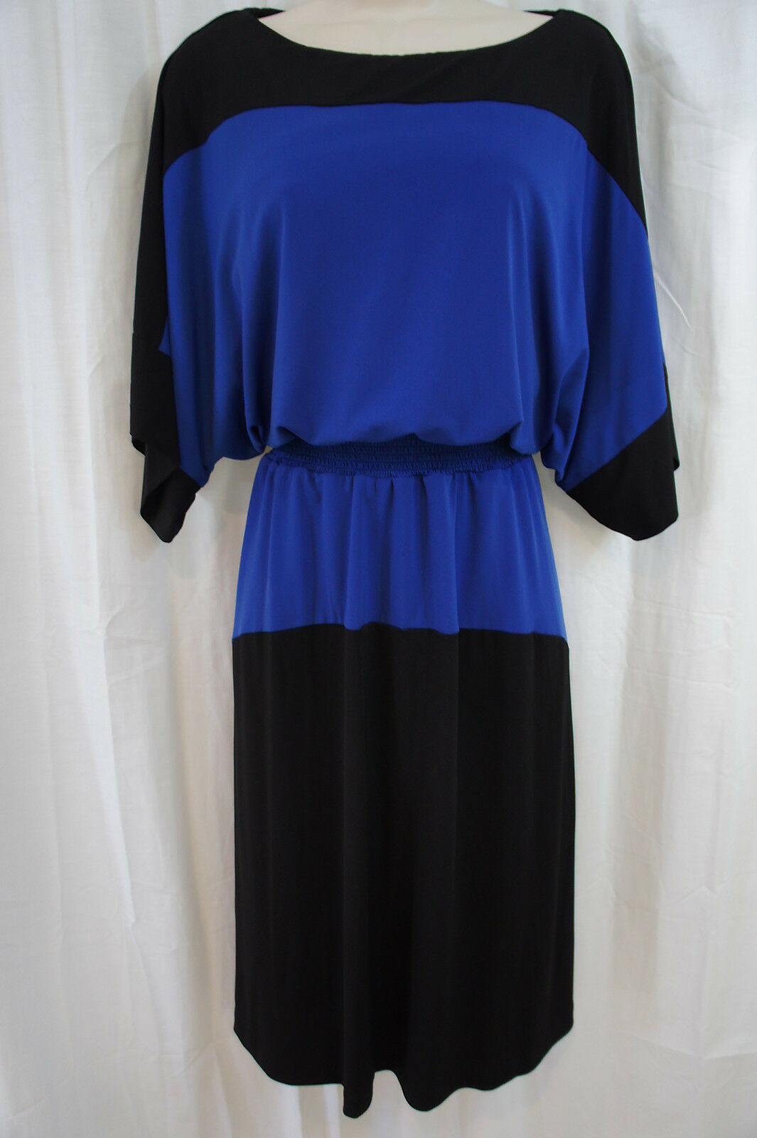MAGGY LONDON Robe Sz 8 schwarz Mediterranean Blau Farbe Block Blouson Robe