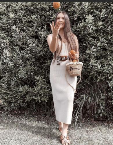 Zara NWT SS20 Ribbed Knit Midi Dress Light Sand Sz M 5536//008
