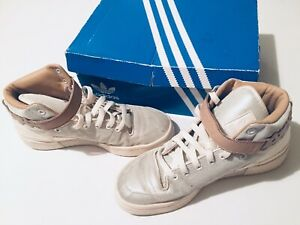 Adidas-Trainers-Size-8-Silver-Beige-White-Forum-Mid-Kawaii-Box-Womens