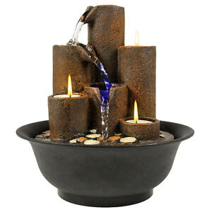 Image Is Loading Home Accent Tabletop Fountain Waterfall W 3 Candles