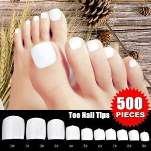500Pcs-Artificial-Acrylic-Toe-False-Nails-Tips-Clear-Foot-Fake-Nails-Manicure-US