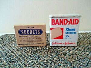Vintage Lot Of 2 Advertising Items,1,Johnson & Johnson Band Aid Tin,1,Sucrets