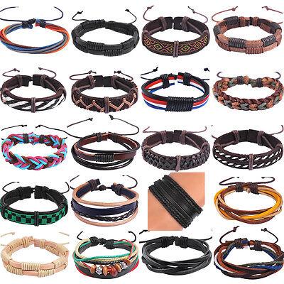 Braided Men Bracelet Surfer Tribal MultiWrap Cuff Leather hemp women Bracelet