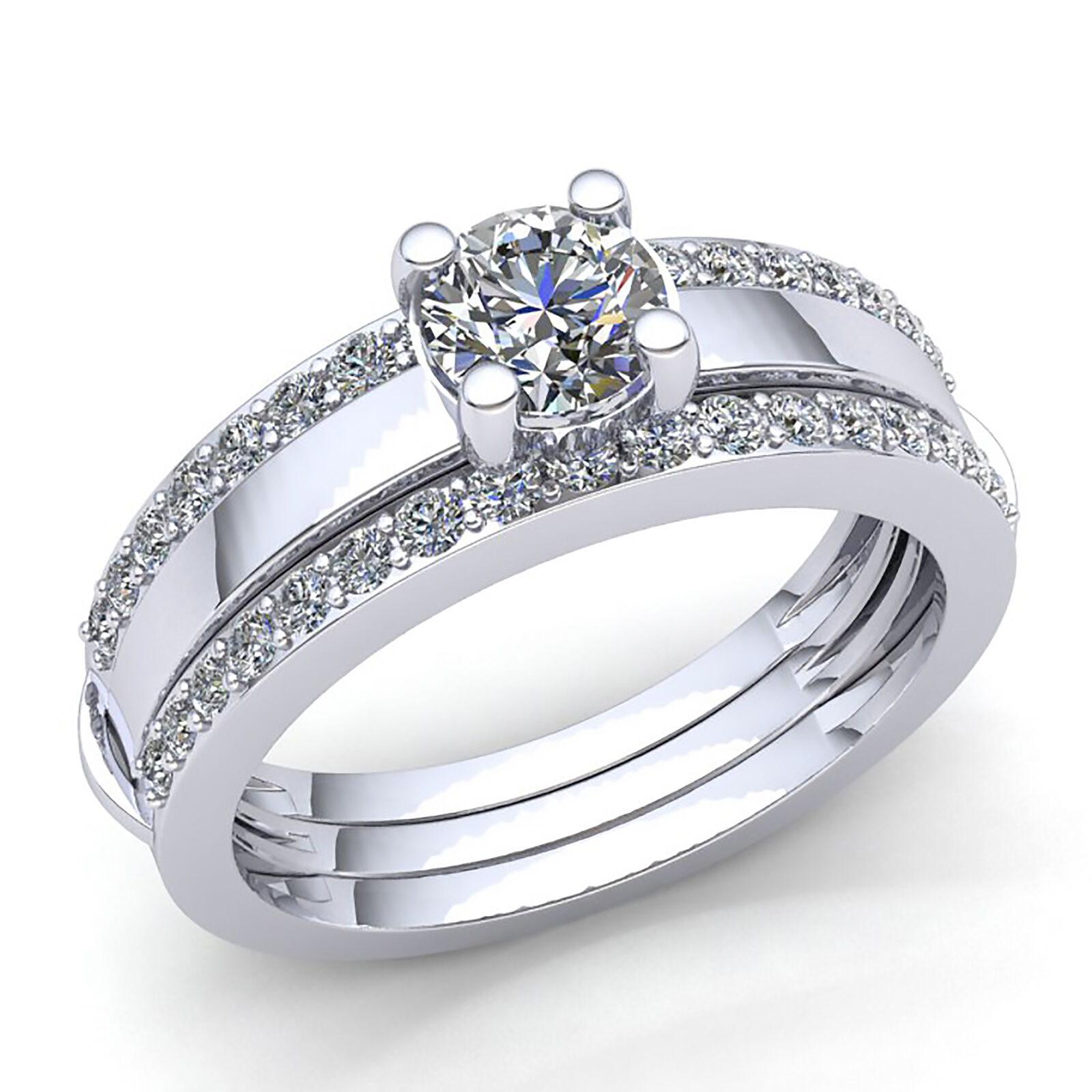 Natural 0.75ct Round Diamond Womens Bridal Solitaire Engagement Ring 14K gold