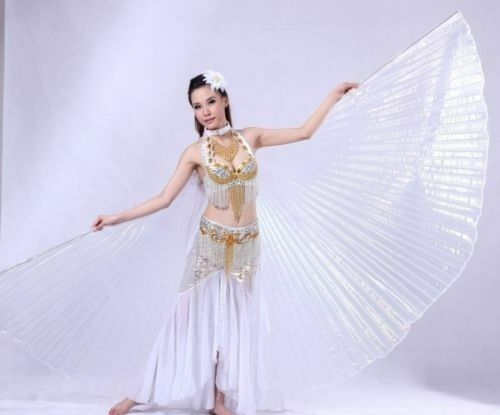 close back Isis wings+2 sticks+bag Isis wings Egyptian Belly Dance shippingUSA