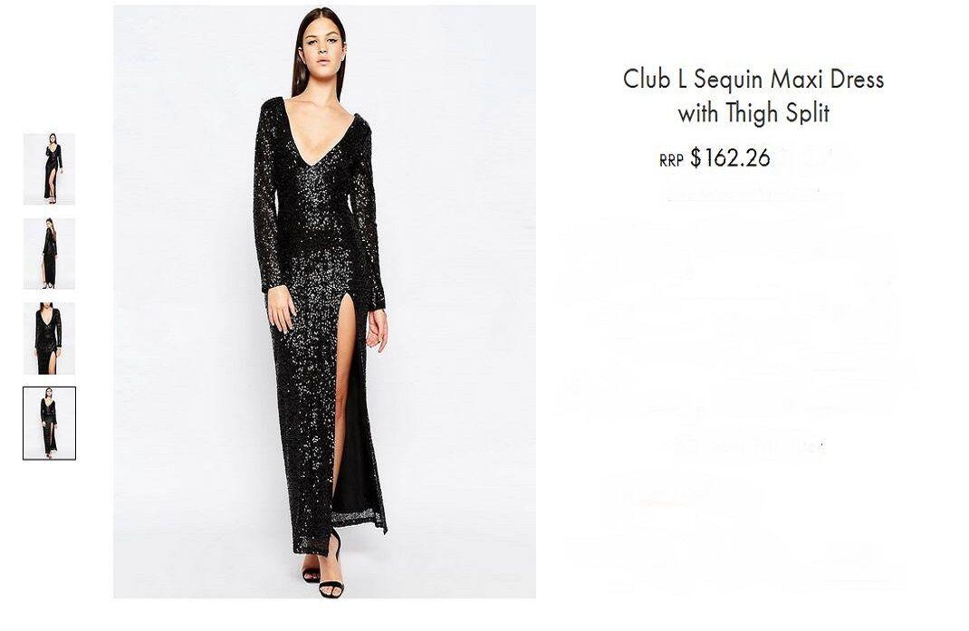 NWT  Club L PREMIUM rot Carpet Heavy Sequin Split Maxi Dress Fully Lined