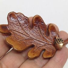 Vintage Leather OAK LEAF BROOCH PIN with Copper ACORN Costume Jewelry
