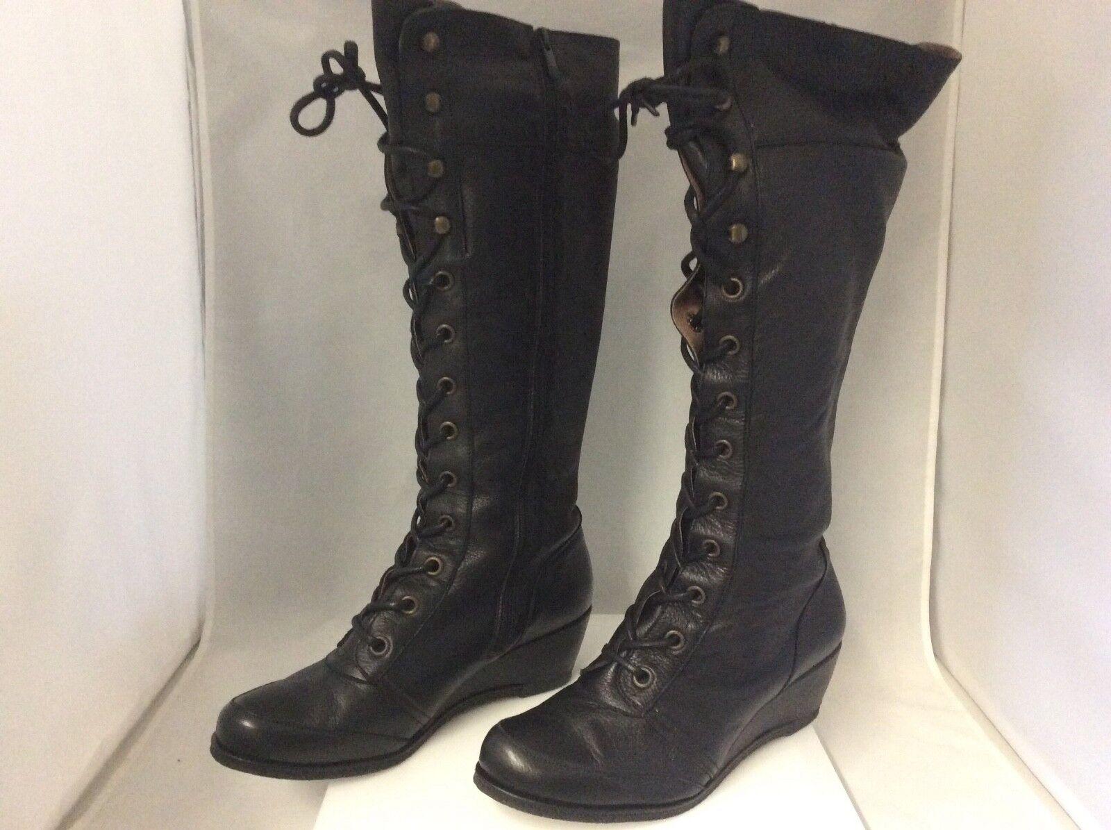 Eric Michael Madrid Leather Black Belinda Knee High Boot NIB Authentic